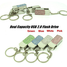 Wholesale Full Capacity 4GB 8GB 16GB 32GB Bling Shing Rhinestone Diamond pendrive Memory Stick USB Flash disk Pen Drive(China)