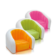 031452 Brand U-shaped children's inflatable sofa Waterproof flocking inflatable chair PVC Non-slip bottom 3 Bright colors(China)