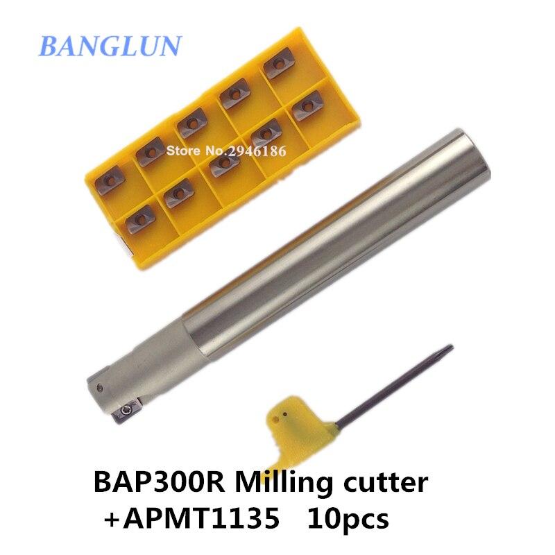 BAP300R C20-21-200 1 flutes CNC Milling Cutter bar 1pcs + 10pcs APMT1135 H2 VP15TF CNC Carbide insert Free shipping<br>