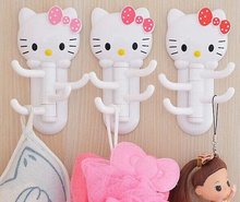 1X Random Color KAWAII Hello Kitty Switch 13*6.5CM Home Wall Clothing Hook Hanger Racks Wall Towel Hanger Cloth Holder Hook RACK
