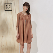 MNFG by Amii Silk mosaic splicing outline relaxed sleeve cropped dress(China)