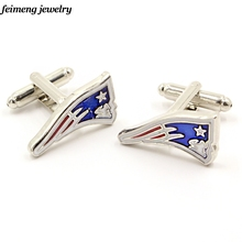 Wholesale 1 Pair The 9th New England Patriots Football Logo Cufflinks For Men Women Fans Best Gift Brand Cufflinks Sports Cuff(China)