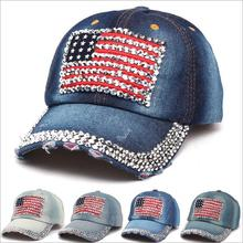 fashion casual denim baseball cap hat for women men female male boy usa flag summer sport hip hop rap baseball cap snapback hat