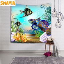 SMAVIA Pretty Fish Pattern Wall Hanging Tapestry Polyester Printed Yoga Mat Decor Home Beach Towel Travel Pad Table Cloth 4 size(China)