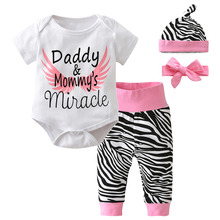 2017 Hot Selling Summer Baby Girl Clothes Newborn Fashion Letter Baby Romper+Pants+Hat+Headband Infant 4pcs Casual Outfits(China)
