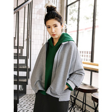 Double puppet coat for women autumn gray color outwear loose casual coat leisure kacket fort women 373023(China)