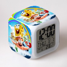 Sponge out of water 3D Alarm Clock LCD Display Time Day Date Month Led 7 Colors Light Change More Style(China)