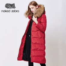 NAKED ZEBRA Plus Size Women Winter Long Duck Down Jacket Removable Fur Collar Lady Hooded Ultra Light Slim Brand Down Coat