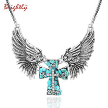 Brightly Vintage Angel Wings Cross Pendant Necklaces for Women Punk & Hiphop Greenish-blue Cross Collar Chains Fashion Jewelry(China)