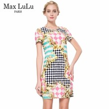 Max LuLu Summer Fashion Plaid Woman Pencil Dresses Short Sleeve Women Brand Clothing Ladies Bodycon Party Dress Plus Size 4xl(China)
