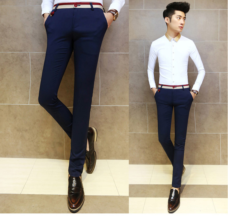 2017 Fashion Men Dress Pants Male Skinny Slim Fit Trousers All Match Applique Cotton Mid Waist White Suit In From S