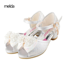 Girl Sandals 2017 Summer New Bowtie Princess Shoes Children'S High Heel Buckle Strap Sandals Little Girl Crystal Kids Shoes Pink