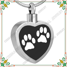 CMJ8247 Paw Print pet urn cremation jewelry heart ash pendants white epoxy dog paw high quality animal jewellery keepsakes(China)