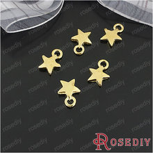 Free Shipping Wholesale 9.5mm Gold color Star Alloy Flat Charms Pendants Diy Fashion Findings Accessories 100 pieces(JM4158)