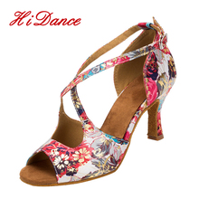 2017 Ladies Dance Sandals Evkoodance soft Suede Sole Satin 8cm 7cm 6cm Girls Ballroom Salsa Latin Dance Shoes for Women L-005