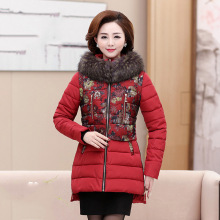 2018 Ms Winter cotton jacket middle age elderly women cotton coat winter mother clothing print thick wadded jacket plus size(China)