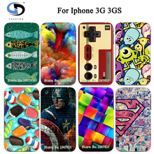 2017 Colorful Patterns Color Painting Design Protective White Hard Back Case For IPHONE 3 3GS