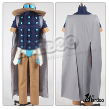 JoJo's Bizarre Adventure Steel Ball Run Gyro Zeppeli Cosplay Costume Blue Coat(China)