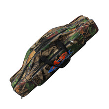 Folding Fishing Rod Bag Canvas Fishing Pole Lure Storage Bag Fishing Tackle Bags Three Layers of Waterproof 80cm Fishing Bag