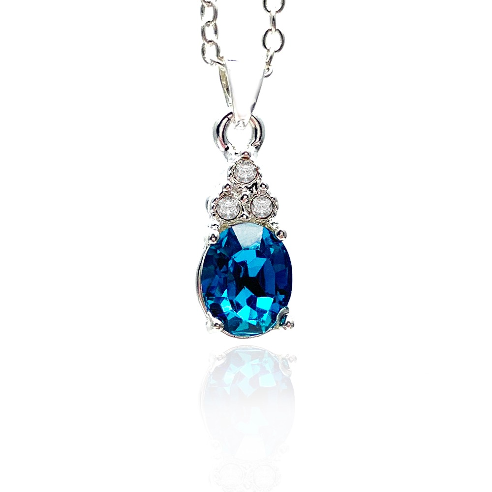 Stylish crystal pendant necklace classic ocean cry...