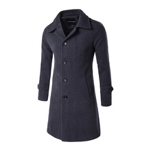 2016 New Winter Men Wool Coat Fashion Single Breasted Long Warm Coats Wool Trench Coat