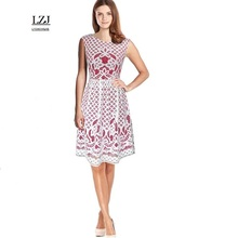 LZJ summer Stylish simplicity women's dress vestidos fashion hook flower hollow lace stitching dress free delivery door size L1(China)