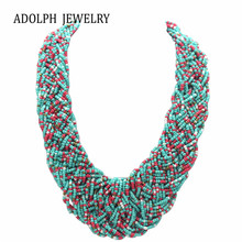 ADOLPH Jewelry Bohemia 5 Colors Temperament Candy Beads Statement Necklace For Woman 2015 New Pendants Choker Necklaces 35(China)