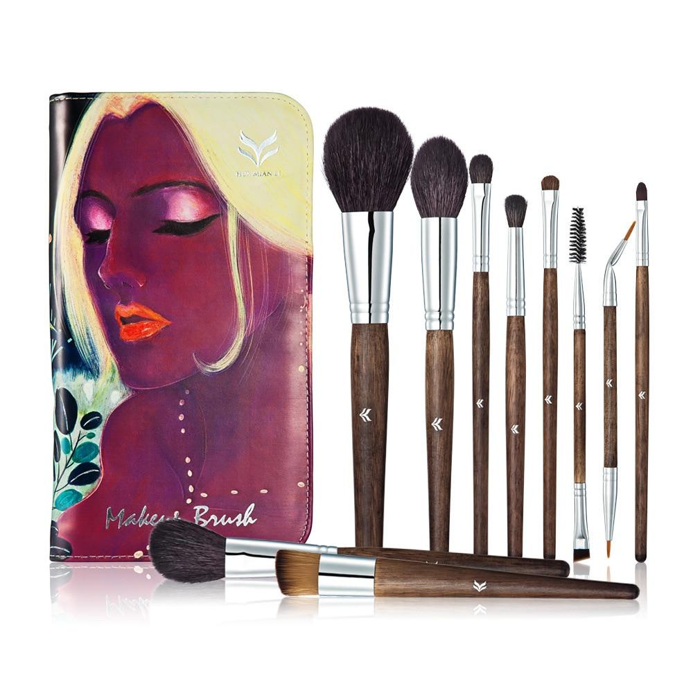 Huamianli 10Pcs Cosmetic Makeup Brushes Set Blush Powder Foundation Eyeshadow Concealer Eyeliner Lip Make Up Brush Beauty Tools<br>