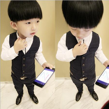 Formal Suits For Boys Vest Three-piece Ensemble Garcon Fall Plaid Children s Long - sleeved Shirt Sets Boys Wedding Clothes<br><br>Aliexpress