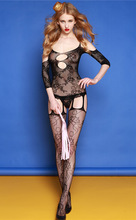 Buy Black Lace Dobby Sexy Lingerie Open Crotch Bodystocking Fishnet Bodysuit Crotchless Body Lingerie Transparent Exotic Clothes