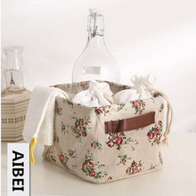 AIBEI-ZAKKA Double handle Cotton and Linen flax Storage Basket Japanese Style book Toy store content Storage Box