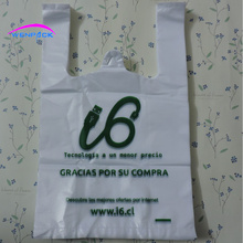 32x20x10cm custom printed logo shopping handle plastic gift vest handle bag/ promotion plastic bag/packaging food bag