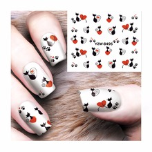 FWC 1 Sheet Hot Sales Water Transfer Nail Sticker Cat Decals DIY Art Decoration Fingernail 8495(China)