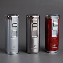 COHIBA Cuban turbo butane cigar lighter,Windproof 3 Jet Torch red gas lighter for cigarette inflatable cigar drilling
