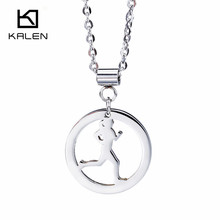 Kalen Hot Selling Fashion Stainless Steel Jewelry Running Girl Sport Pendant Necklace Cheap Accessories Birthday Gifts For Women(China)