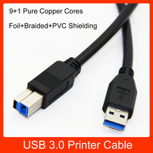 USB 3.0 Printer Cable Type A Male to Type B Male Foil+Braided+PVC Shielding 100cm 1.5m 1.8m 3m 5m(China)