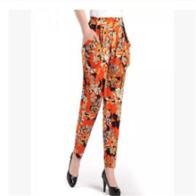 2017 In the spring and autumn fashion women trousers ice silk elastic haroun pants thin loose big size nine minutes of pants K63