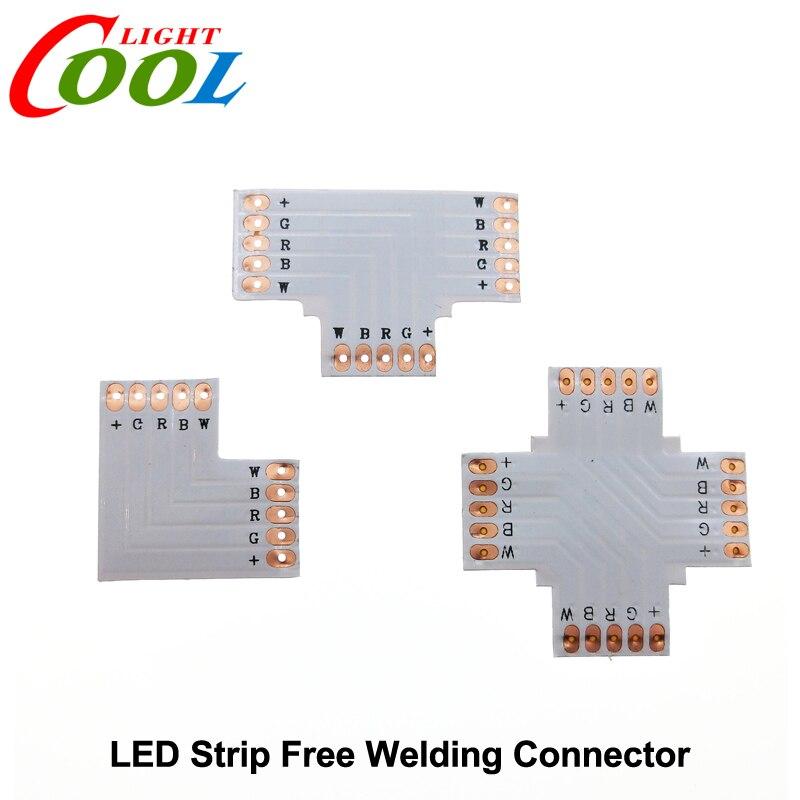 RGBW LED Strip Connector 5pin 12mm L Shape / T Shape / X Shape PCB Connector 5pcs/lot<br><br>Aliexpress