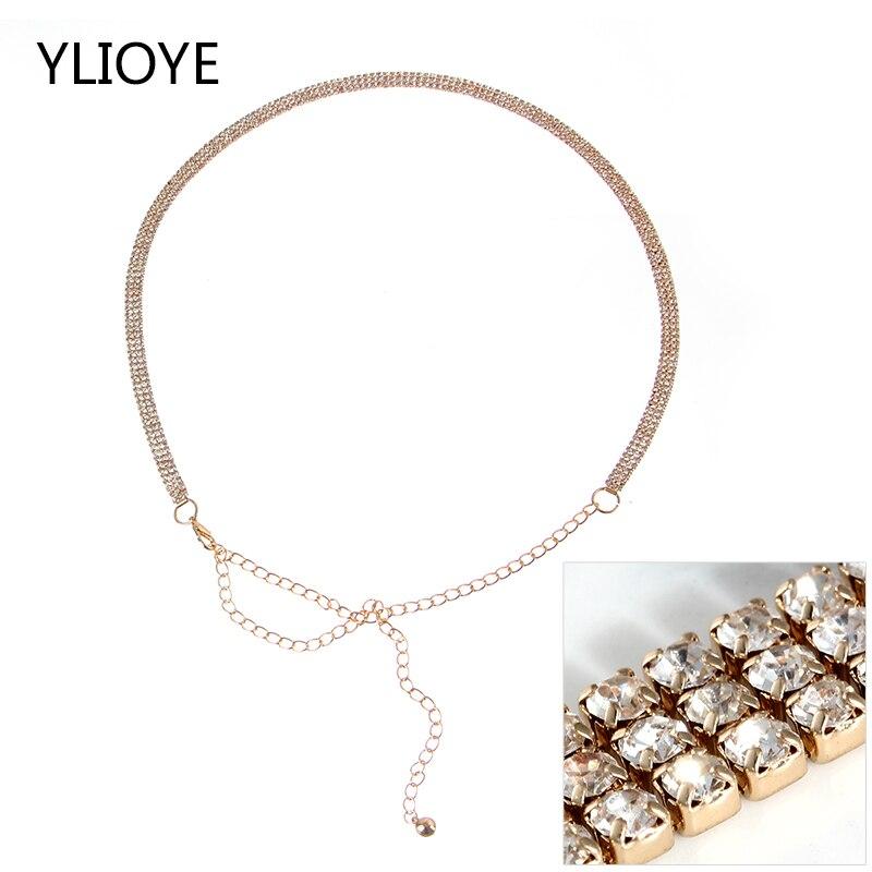 Fashion Ladies Full Diamond Metal Decorative Waist Chain 6Rows Drill Inlaid Belt