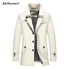 Plus Size 6xl 7xl 8xl Trench Coat Men 2017 Winter Jacket Mens Overcoat Windbreaker Cappotto Uomo Slim Fit Mens White Trench Coat(China)