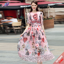 Summer Runway Dresses women's High Qualtiy Fashion Designer Cute Cat Love Letter Sequined Printed Pink Chiffon Dress Free DHL(China)