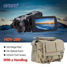 Ordro HDV-Z80 Full HD 1080P Digital Video Camera 5.1MP CMOS Sensor 3 Inch Touch Rotating LCD Screen HD Camcorder W/ a Camera Bag
