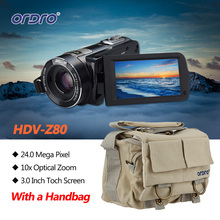 Ordro HDV-Z80 Full HD 1080P Digital Video Camera 5.1MP CMOS Sensor 3 Inch Touch Rotating LCD Screen HD Camcorder W/ a Camera Bag(China)