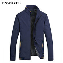 ENWAYEL Spring Autumn Winter Thick Velvet Male Casual Jacket Men Pockets Stand Collar Windbreaker Coat Clothing Big Size 1718(China)