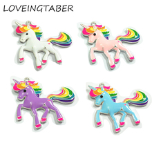 ( Choose Color First ) 48mm*45mm  10pcs/lot Alloy With Full Enamel Unicorn Pendants For Chunky Necklace Making