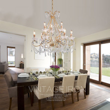 American Vintage Crystal Chandelier Lamp Hanging Lustres Dining room Light Fixture Restaurant Lamparas de techo Lighting(China)