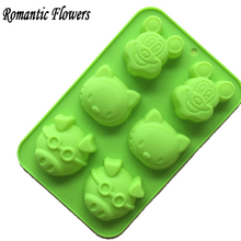 The New Starting Silicone Bakeware Glasses KT Cat Mickey Mouse Head Pig Silicone Soap Mold Moon Cake Mold 1pc