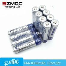 12pcs High Quanlity AAA Rechargeable Battery 1000 4 X BTY NI-MH 1.2V 3A Batteries for remote control toy Wholesale(China)