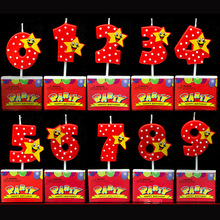 1Pcs Number Birthday Cake Candles 1 2 3 4 5 6 7 8 9 0 Creative Lucky Star Kids Adult Birthday Candle For Party Decoration Hot(China)