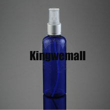Free shipping 300pcs/lot 100ml PET Plastic empty beautiful perfume water SPRAY bottle with round shoulder blue color